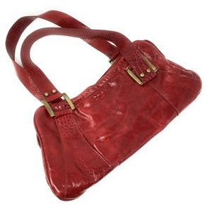 Red Leather Satchel Purse Shoulder Handbag